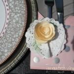 Bestecktasche für die Mädels in Kirschblüte und Designerpergament Silber